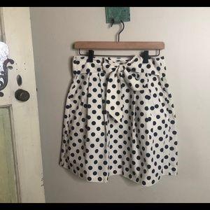 JCrew polka dot pleated skirt